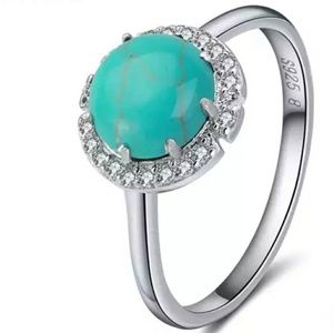 Silver Round Turquoise & Diamond Fancy Halo Ring